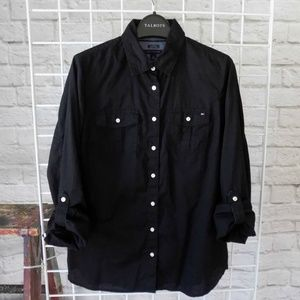Rolled Sleeve Button Down Black Oxford Top Shirt